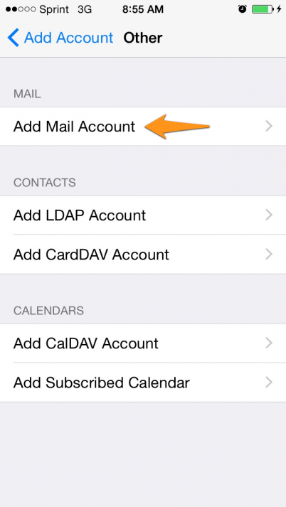iphone addmail